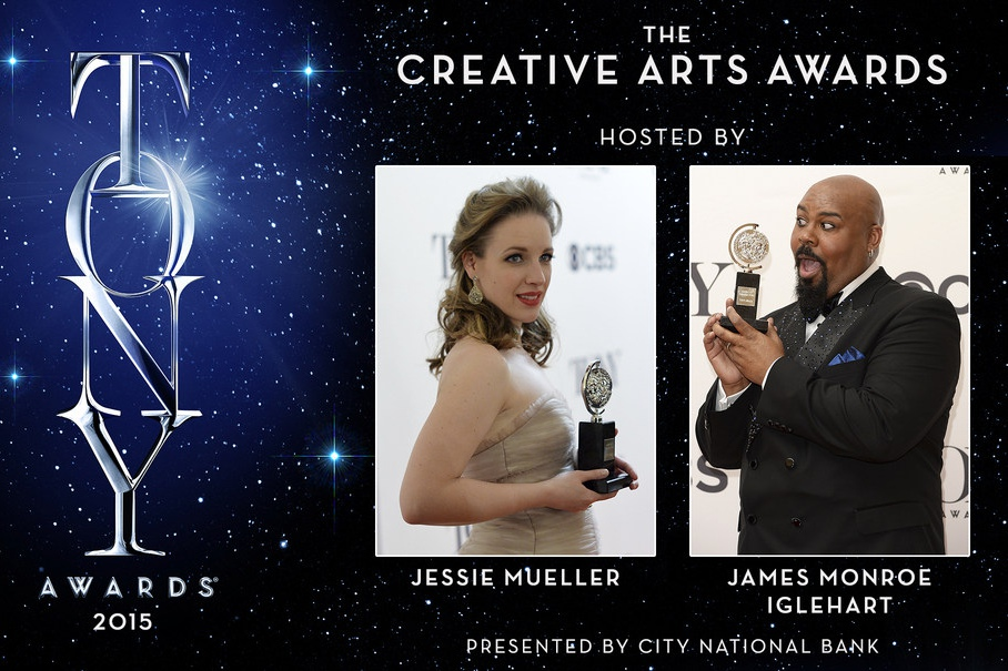 Past Tony Award-winners James Monroe Iglehart and Jessie Mueller will host the Creative Arts Tony Awards on June 7, 2015. The Creative Arts Awards are sponsored by City National Bank.