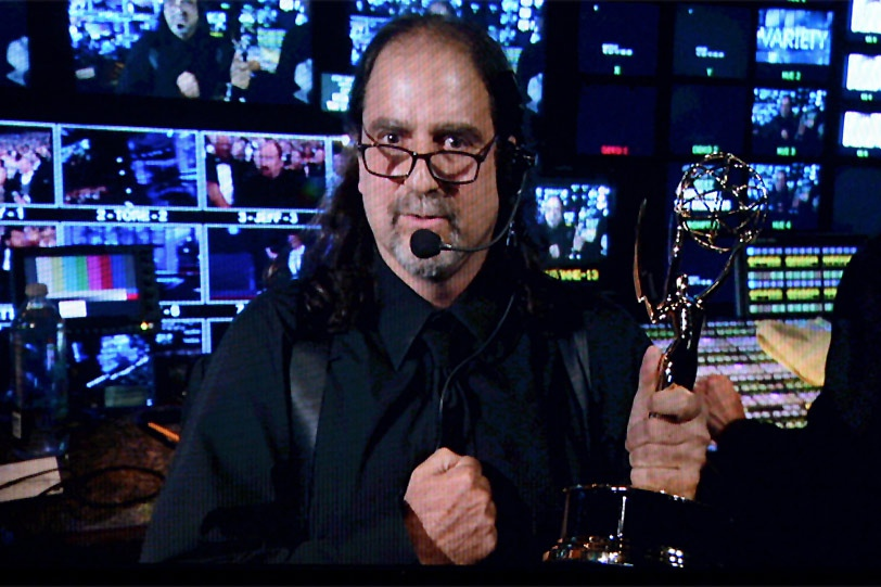Glenn Weiss with his Emmy Award for directing the 2011 Tony Awards, accepted backstage at the 2012 Emmy Awards, which he also directed.
